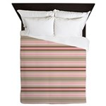 Pink and beige stripes Queen Duvet