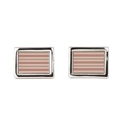 Pink and beige stripes Rectangular Cufflinks