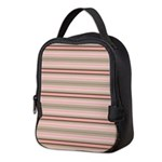 Pink and beige stripes Neoprene Lunch Bag