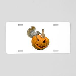 Squirrel Pumpkin Aluminum License Plate