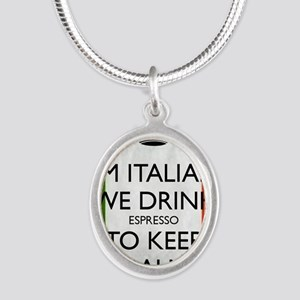 We Drink Espresso to Keep Cal Silver Oval Necklace