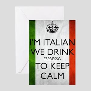 We Drink Espresso to Keep Calm Greeting Card