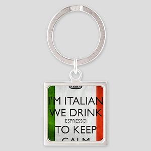 We Drink Espresso to Keep Calm Square Keychain