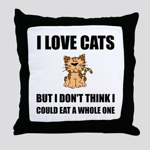 Eat A Whole Cat Throw Pillow