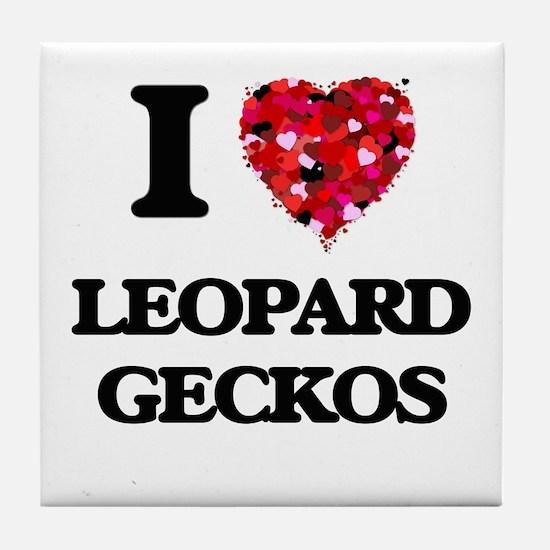 I love Leopard Geckos Tile Coaster