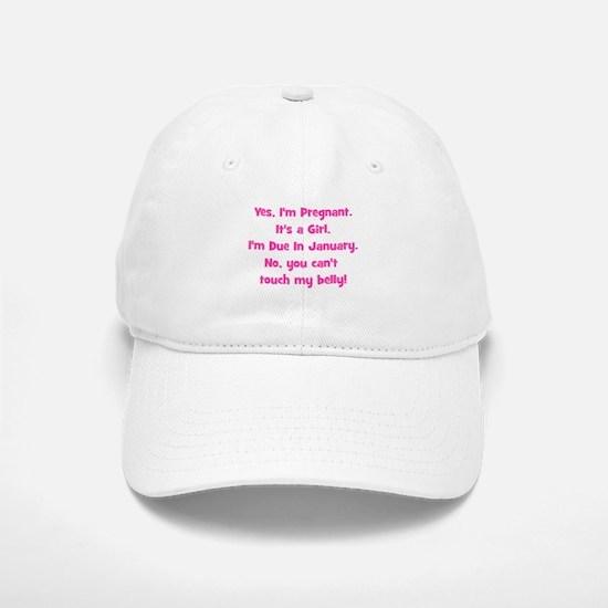 Pregnant Girl due January Bel Baseball Baseball Cap