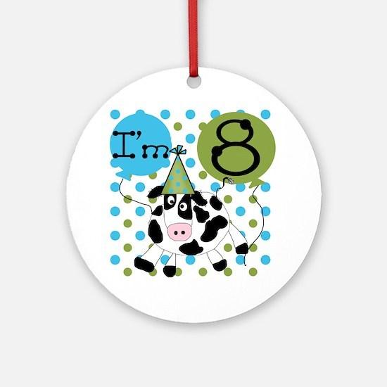 Cow 8th Birthday Ornament (Round)