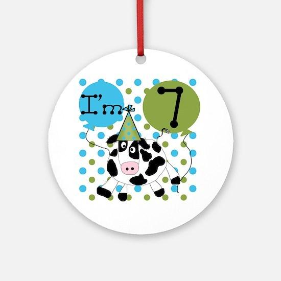 Cow 7th Birthday Ornament (Round)