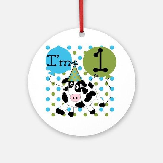 Cow 1st Birthday Ornament (Round)