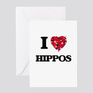 I love Hippos Greeting Cards