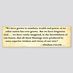 Abraham Lincoln - God And America - Bumper Sticker