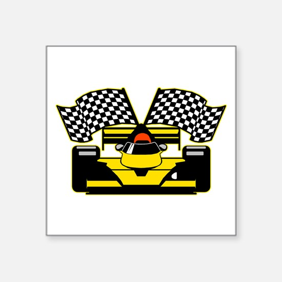 "YELLOW RACECAR Square Sticker 3"" x 3"""