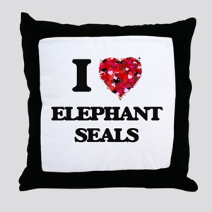 I love Elephant Seals Throw Pillow