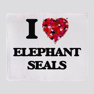 I love Elephant Seals Throw Blanket