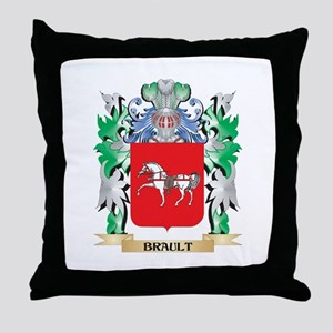 Brault Coat of Arms - Family Crest Throw Pillow