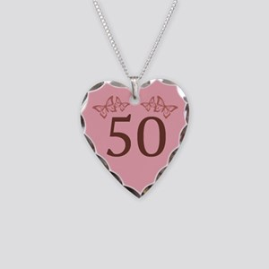 50th Birthday Anniversary Necklace Heart Charm