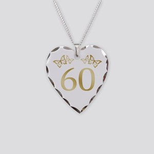 60th Birthday Anniversary Necklace Heart Charm