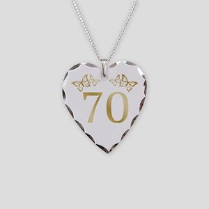 70th Birthday Anniversary Necklace Heart Charm