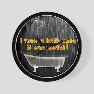 Took a Bath Once Rustic Rain Wall Clock