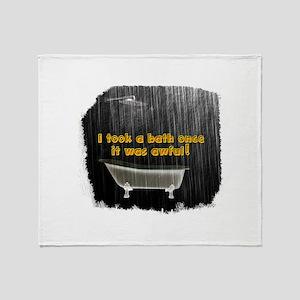 Took a Bath Once Rustic Rain Throw Blanket