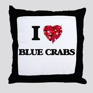 I love Blue Crabs Throw Pillow