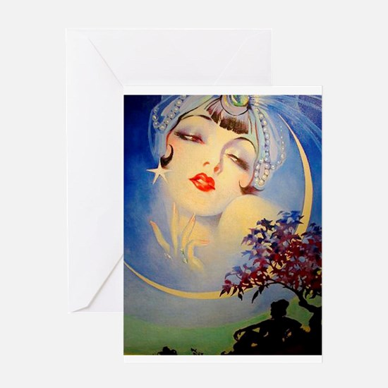 Henry Clive Woman in the Moon, Art Deco Greeting C
