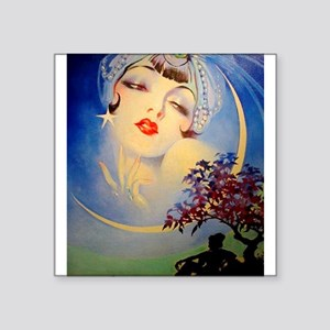 Henry Clive Woman in the Moon, Art Deco Sticker