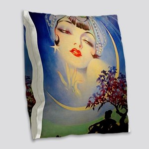 Henry Clive Woman in the Moon, Art Deco Burlap Thr