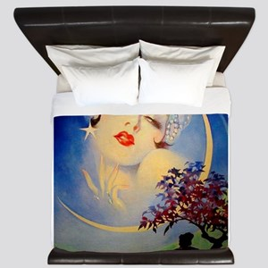 Henry Clive Woman in the Moon, Art Deco King Duvet