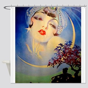 Henry Clive Woman in the Moon, Art Deco Shower Cur
