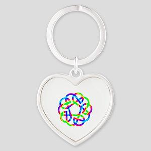Rainbow Celtic Knot Heart Keychain