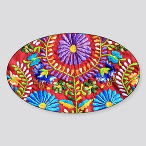 Mexican Embroidery  Sticker (Oval)