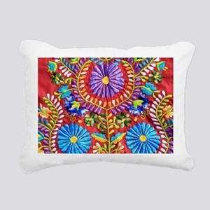 Mexican Embroidery  Rectangular Canvas Pillow