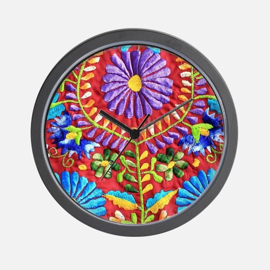 Mexican Embroidery Wall Clock