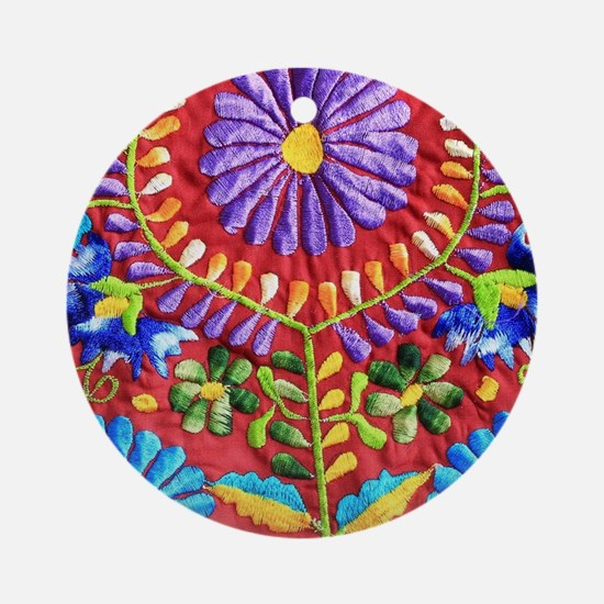 Mexican Embroidery Round Ornament