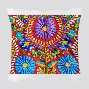 Mexican Embroidery Woven Throw Pillow