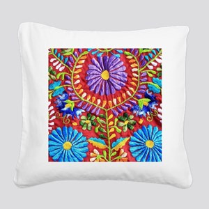 Mexican Embroidery Square Canvas Pillow