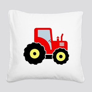 Red tractor Square Canvas Pillow