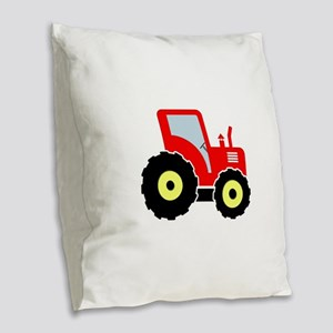 Red tractor Burlap Throw Pillow