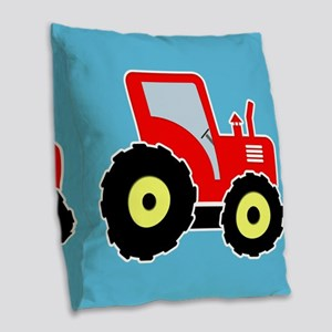 Red toy tractor Burlap Throw Pillow