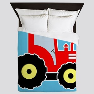 Red toy tractor Queen Duvet