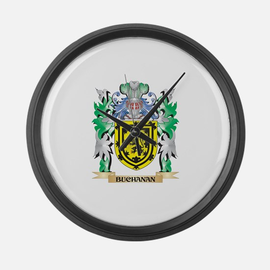 Buchanan Coat of Arms - Family Cr Large Wall Clock