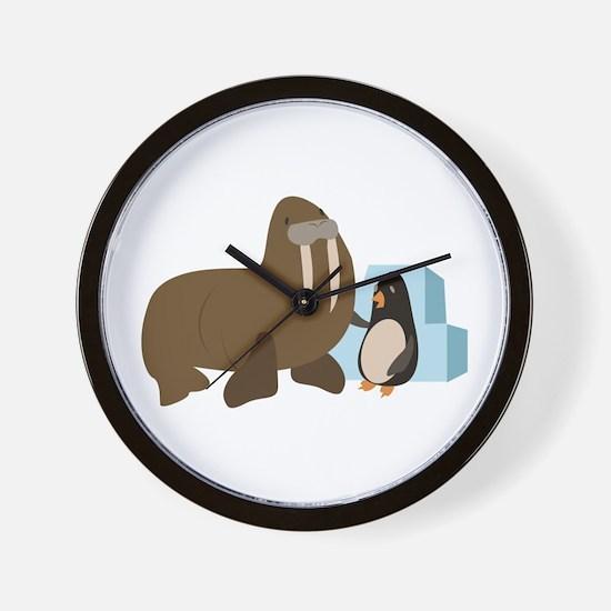 Walrus & Penguin Wall Clock