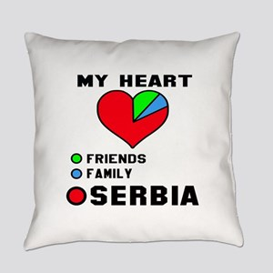 My Heart Friends, Family and Serbi Everyday Pillow