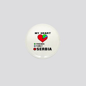 My Heart Friends, Family and Serbia Mini Button