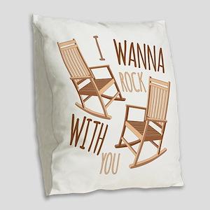 Rock With You Burlap Throw Pillow