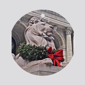 New York Public Library Lion Round Ornament