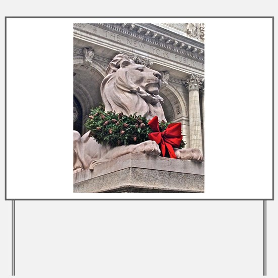 New York Public Library Lion Yard Sign