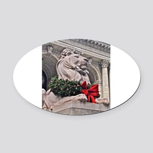 New York Public Library Lion Oval Car Magnet