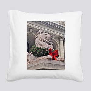 New York Public Library Lion Square Canvas Pillow